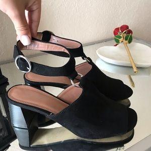 Topshop suede Black peep toe sandals